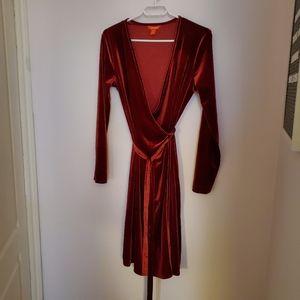 Joe Fresh red velvet dress sz M